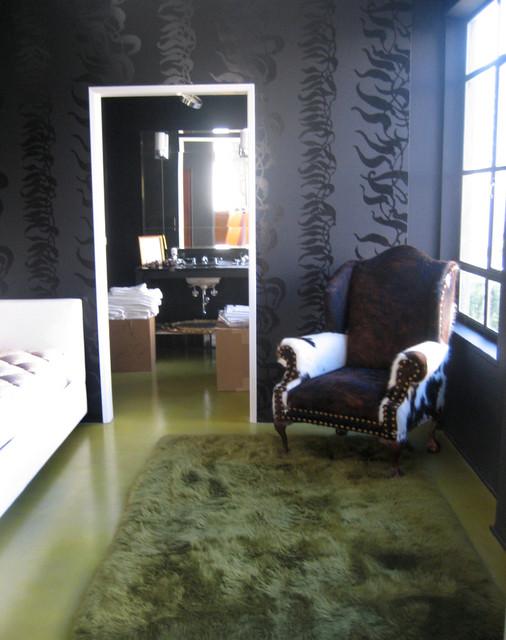 Seaweed Mural in Bedroom, Loft modern-bedroom