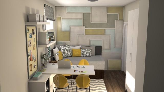 Second Bedroom Craft Room Contemporary Bedroom