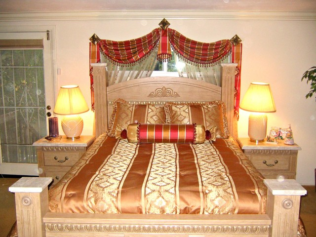 bedroom traditional swags and sheer curtains traditional bedroom
