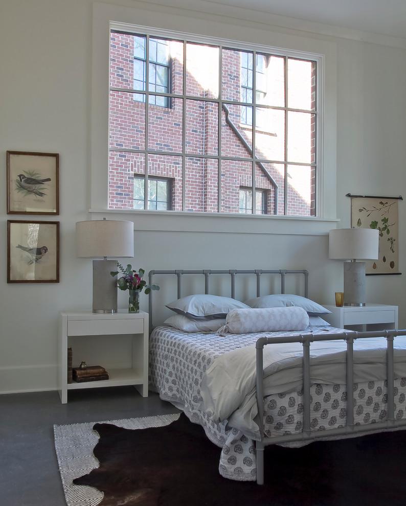 Mid-sized danish master bedroom photo in Atlanta with white walls