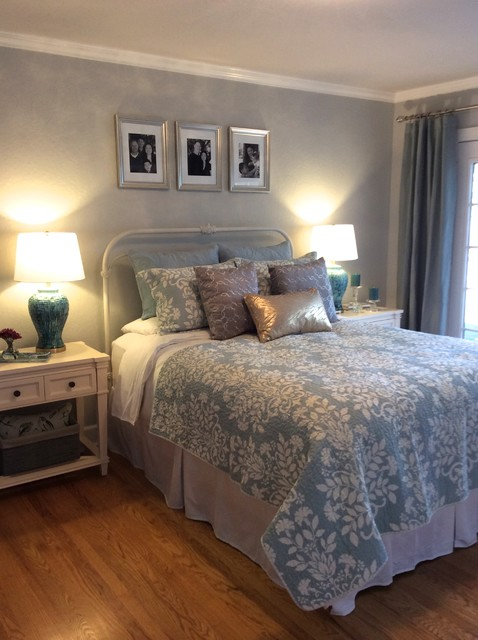 serene blue gold and silver master bedroom eclectic bedroom san