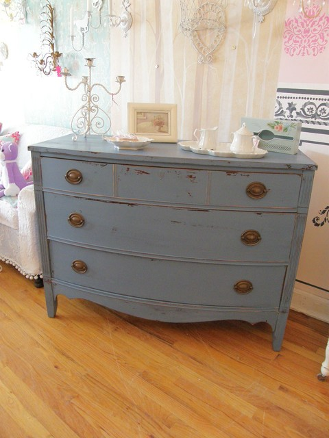 Elegant Shabby Chic Country Cottage Dresser Historic Blue Distressed Eclectic  Bedroom