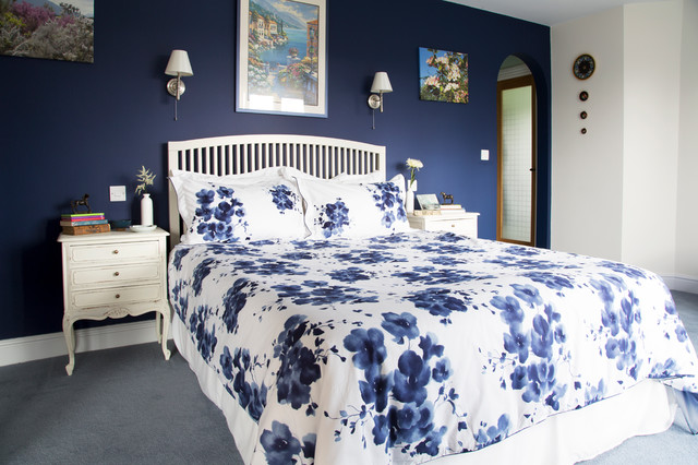 shabby chic master bedroom blue - Letto Country Chic