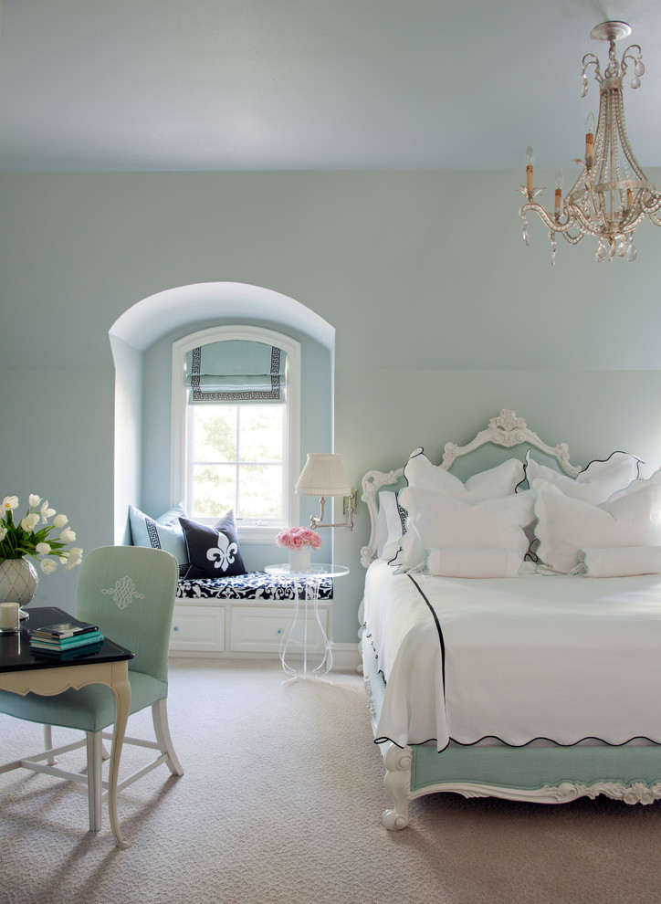 Inspiration for a large transitional guest carpeted bedroom remodel in Little Rock with blue walls and no fireplace