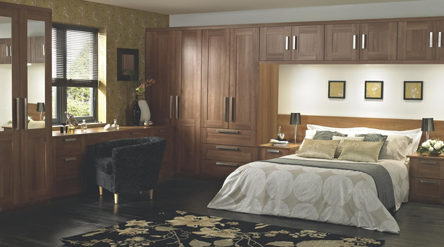 Shaker walnut style modular bedroom furniture system contemporary bedroom hampshire by b q Mobile home bedroom furniture