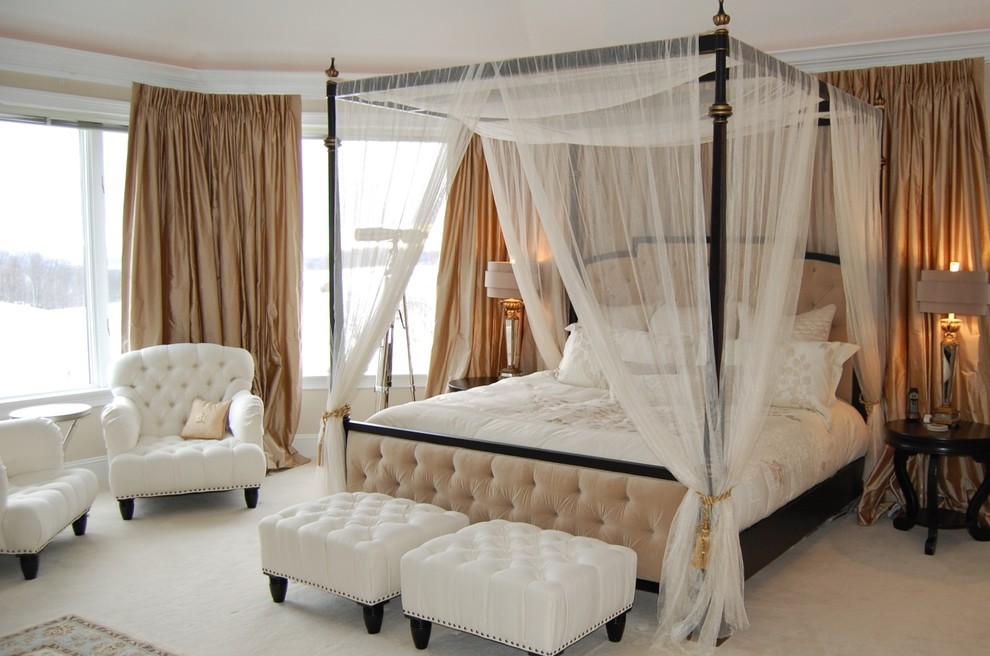 Inspiration for a timeless master carpeted bedroom remodel in Richmond with beige walls and no fireplace