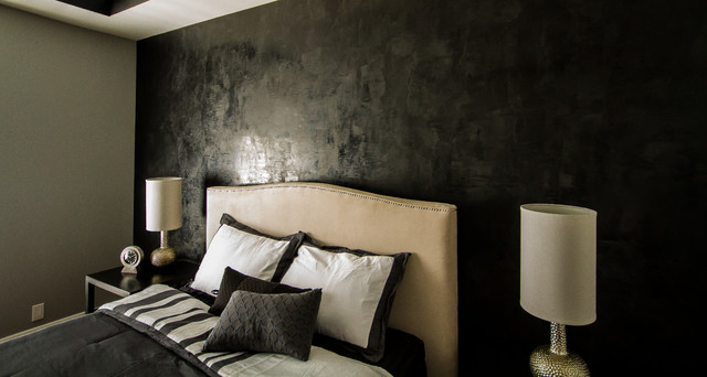 Sherman Oaks Condo, black venetian plaster wall, black bedding, black  bedroom modern-