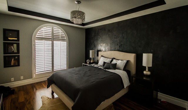 Sherman oaks condo modern lamps black and gray bedroom for Black and white modern bedroom ideas
