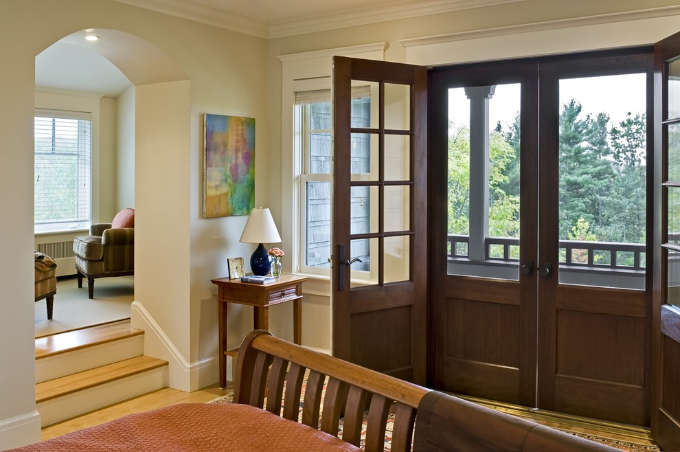 Inspiration for a victorian bedroom remodel in Burlington with beige walls