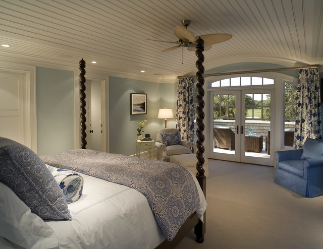 Shingle style home on golf course eclectic bedroom for Eclectic master bedroom ideas