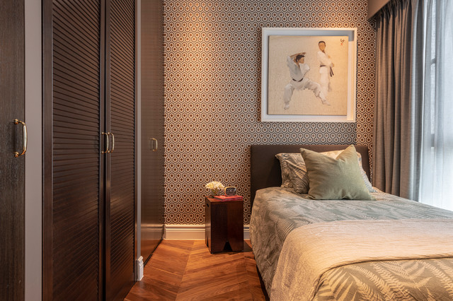 Shoebox Apartment in Plantation Style traditional-bedroom
