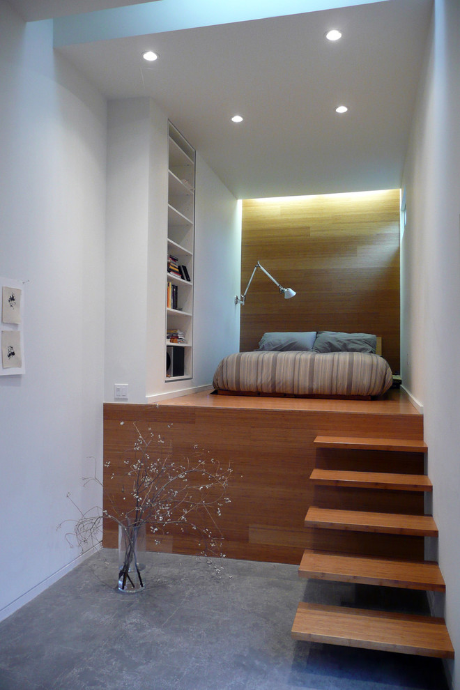 Urban bedroom photo in San Francisco with white walls