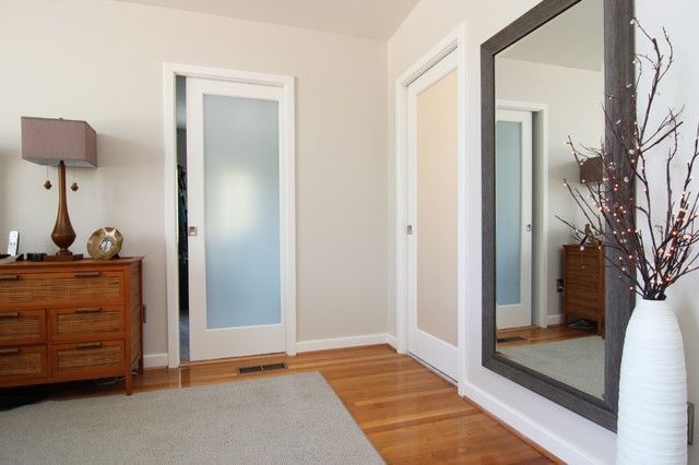 Master Bath Closet With Frosted Glass Pocket Doors Traditional Closet Richmond By