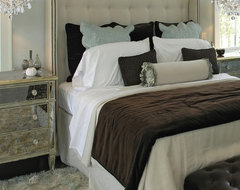 Silk Pleated Shaded Crystal Chandelier eclectic-bedroom