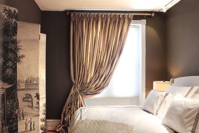 drapes for bedroom. Silky And Bunched Bedroom Drape With Braided TieBack Traditional Appealing Drapes Contemporary  Best idea home design