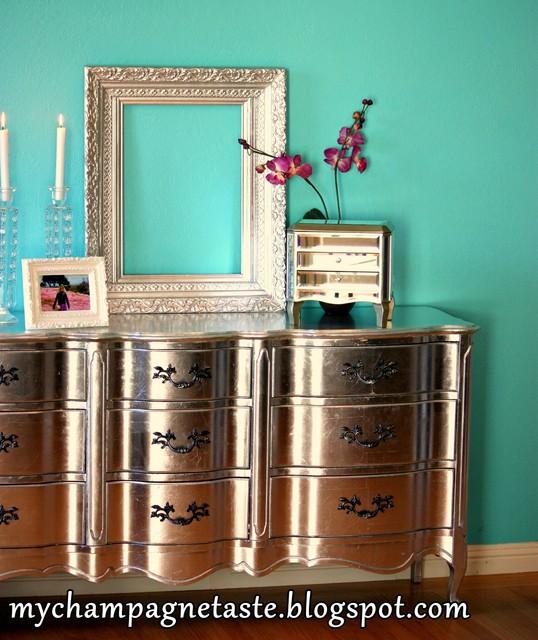 Silver Dresser eclectic-bedroom