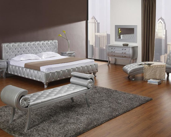 Silver Modern Bed with Crystals - Features: