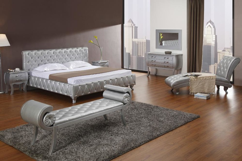 Silver Modern Bed With Crystals Contemporary Bedroom Los Angeles By Eurolux Furniture
