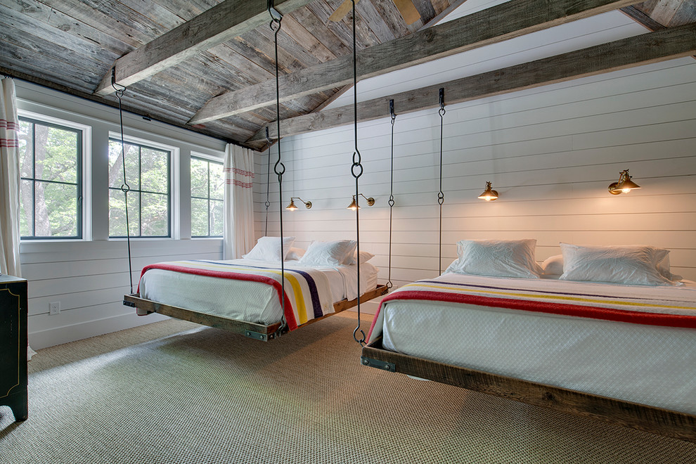 Bedroom - cottage carpeted bedroom idea in Other with white walls