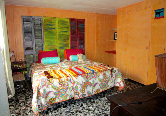 single wide trailer into beach vacation rental eclectic bedroom