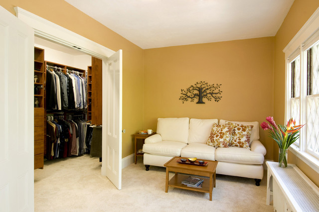 sitting room with walk in closet traditional bedroom boston by charlie allen renovations. Black Bedroom Furniture Sets. Home Design Ideas