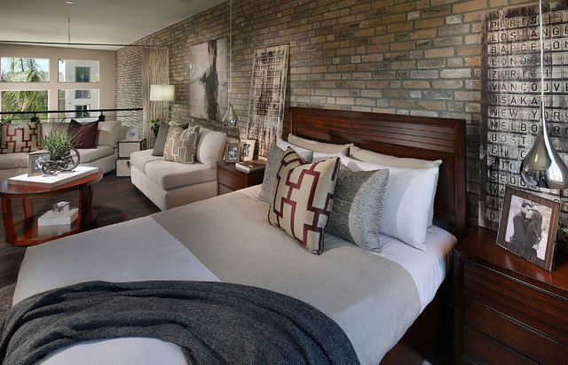 Sky Loft Thin Brick Interior Contemporary Bedroom
