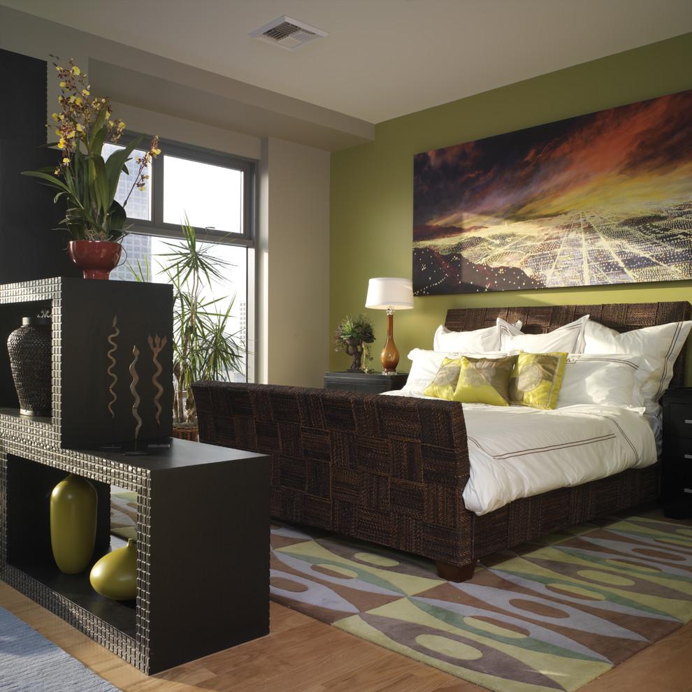 Bedroom - eclectic bedroom idea in Los Angeles with green walls