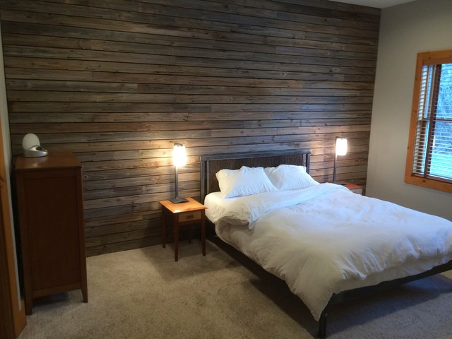 Slatted Barn Wood Wall Rustic Bedroom New York By