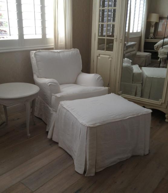 Slipcovered Chair, Otoman, Side Table