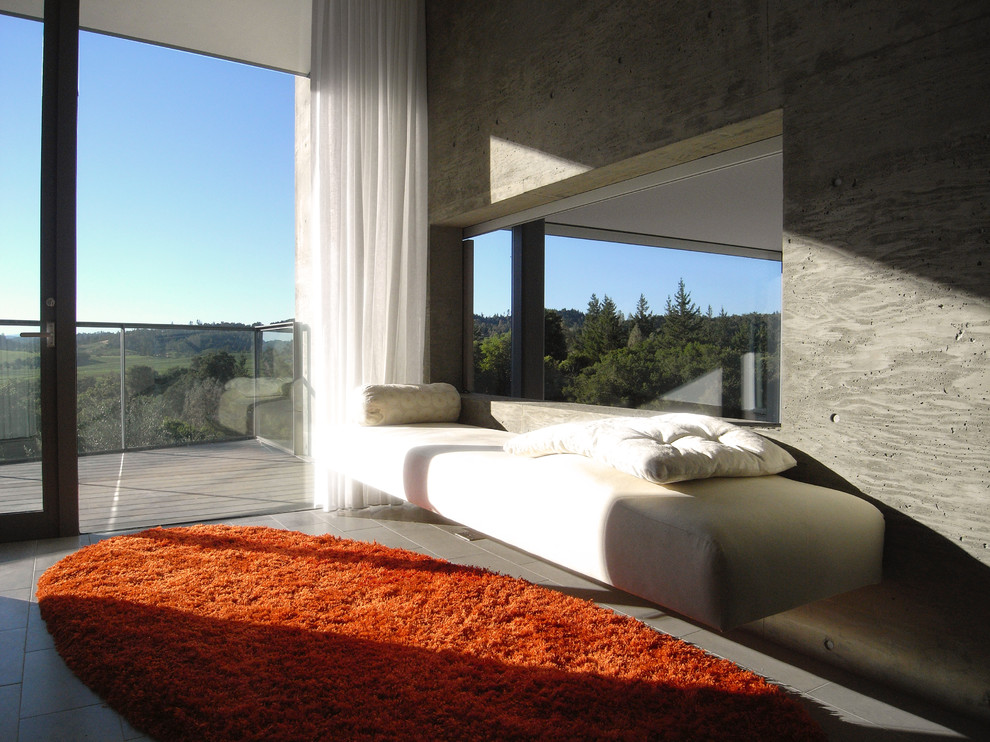 Example of a minimalist bedroom design in San Francisco with gray walls