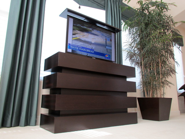Small Le Bloc motorized pop up TV Lift Cabinet built by