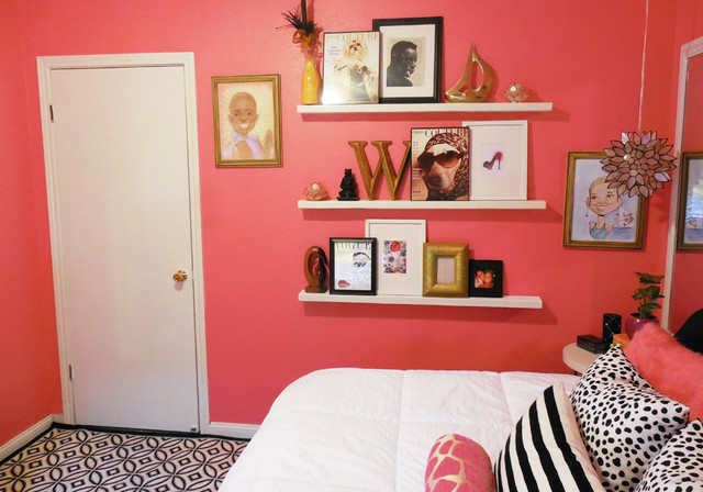 Small pink teen bedroom bedroom new orleans by for Pink bedroom accessories teenager