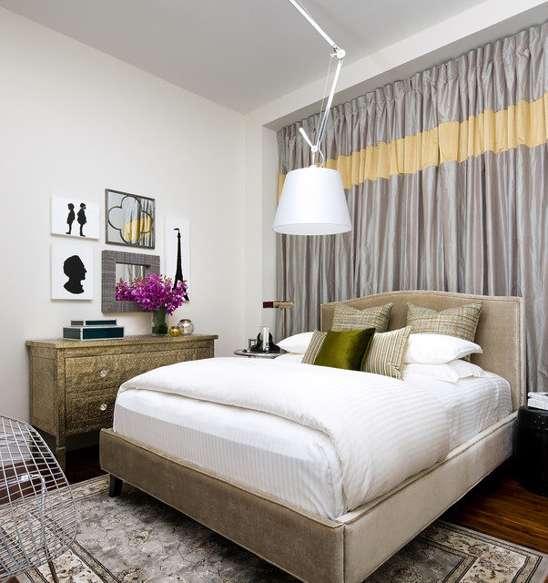 Small space residence eclectic bedroom other metro - Curtains for small spaces ...