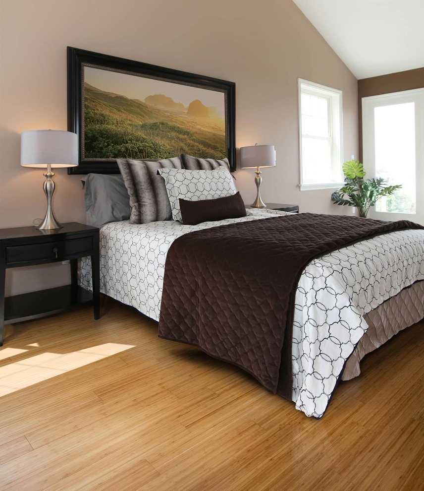 Solid Carbonised Vertical Bamboo Flooring - Contemporary - Bedroom