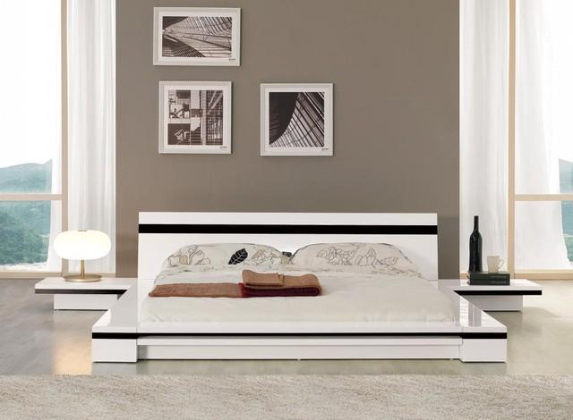 Sonata platform bed in white contemporary bedroom - Bedroom furniture in los angeles ...
