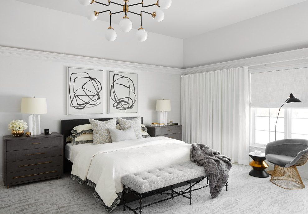 Example of a huge trendy master carpeted and gray floor bedroom design in Chicago with white walls