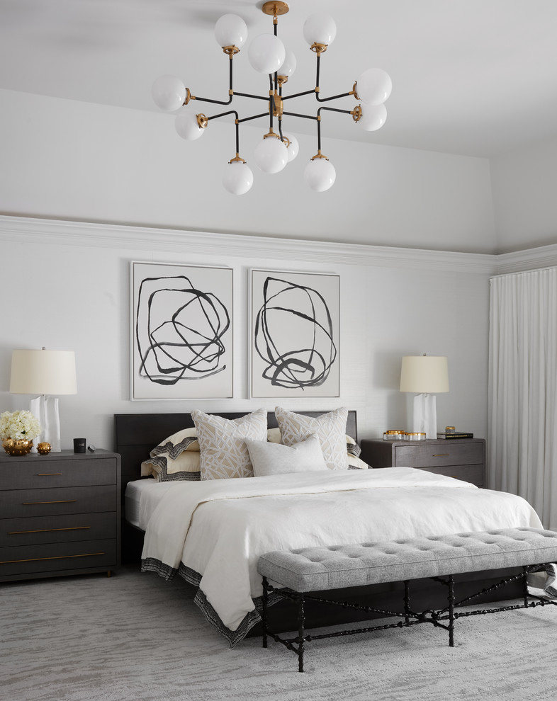 Trendy master carpeted and gray floor bedroom photo in Chicago with white walls