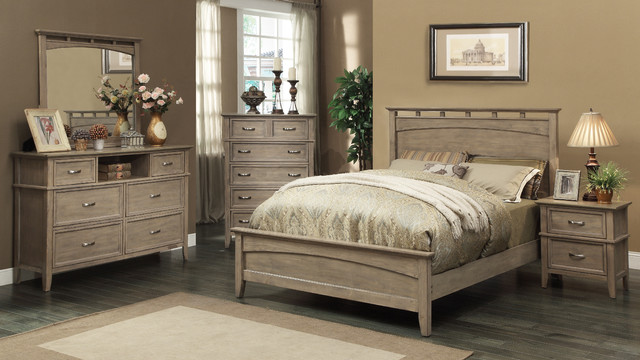 South Beach Queen Size Bed In Weathered Oak Modern