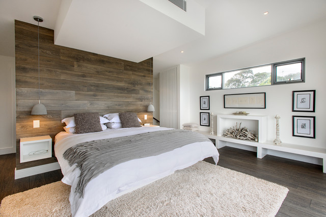 Bedroom   Contemporary Dark Wood Floor Bedroom Idea In Sydney With White  Walls