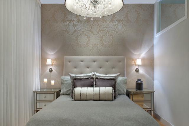 Beau Bedroom   Large Contemporary Master Medium Tone Wood Floor Bedroom Idea In  Boston With White Walls