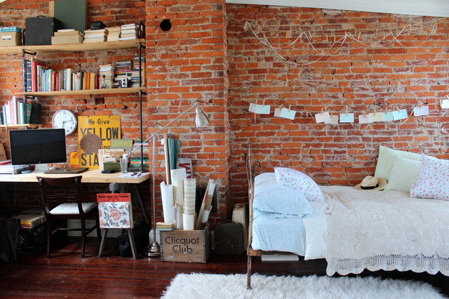 South Philly Row House Shabby Chic Style Bedroom