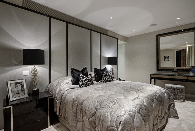 Bedroom   Contemporary Carpeted And Gray Floor Bedroom Idea In London With  Gray Walls. Email Save. Hill House Interiors