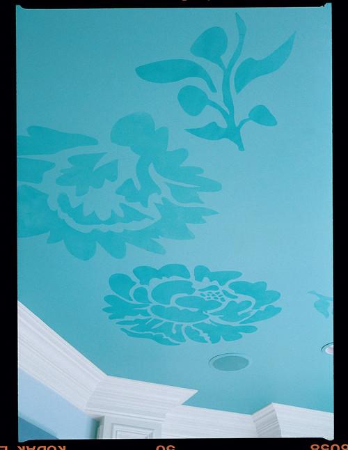 Custom stenciling bedroom ceiling