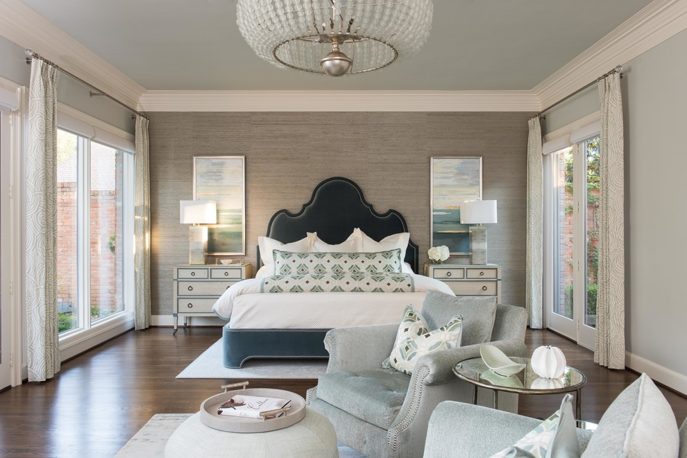Large transitional master dark wood floor bedroom photo in Dallas with gray walls and no fireplace