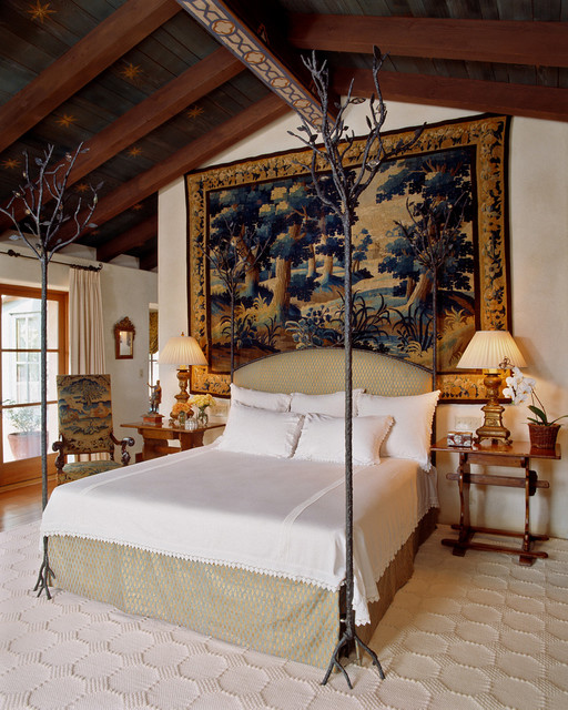 Tuscan carpeted bedroom photo in San Francisco with white walls and no fireplace