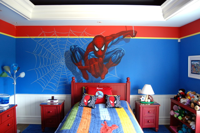 spiderman bedroom. Spiderman Superhero Murals in a boys bedroom  Hand painted by Tom Taylor of Mura eclectic