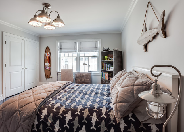 Transitional bedroom photo in New York with gray walls