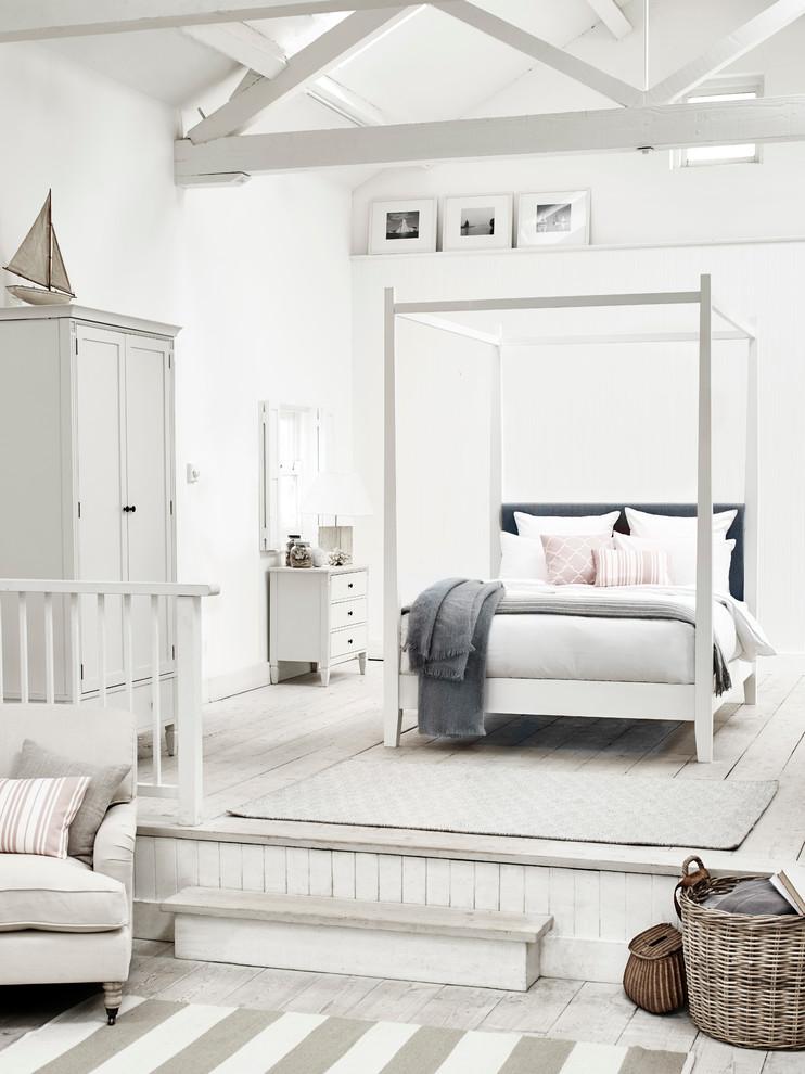 Beach style bedroom photo in London