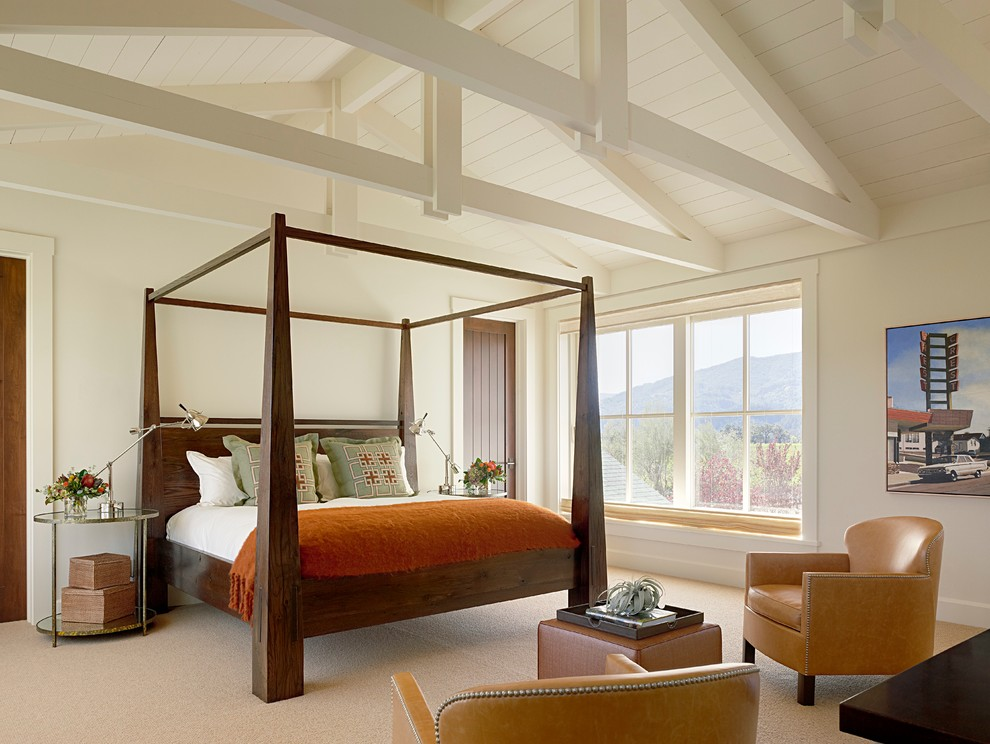 Example of a farmhouse master carpeted bedroom design in San Francisco with white walls