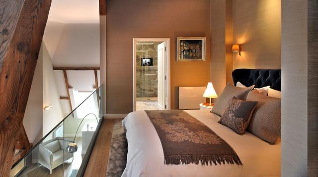 Design Ideas For A Medium Sized Contemporary Mezzanine Bedroom In London With Beige Walledium